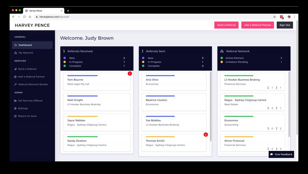 Harvey Pence Referral Network Platform Dashboard